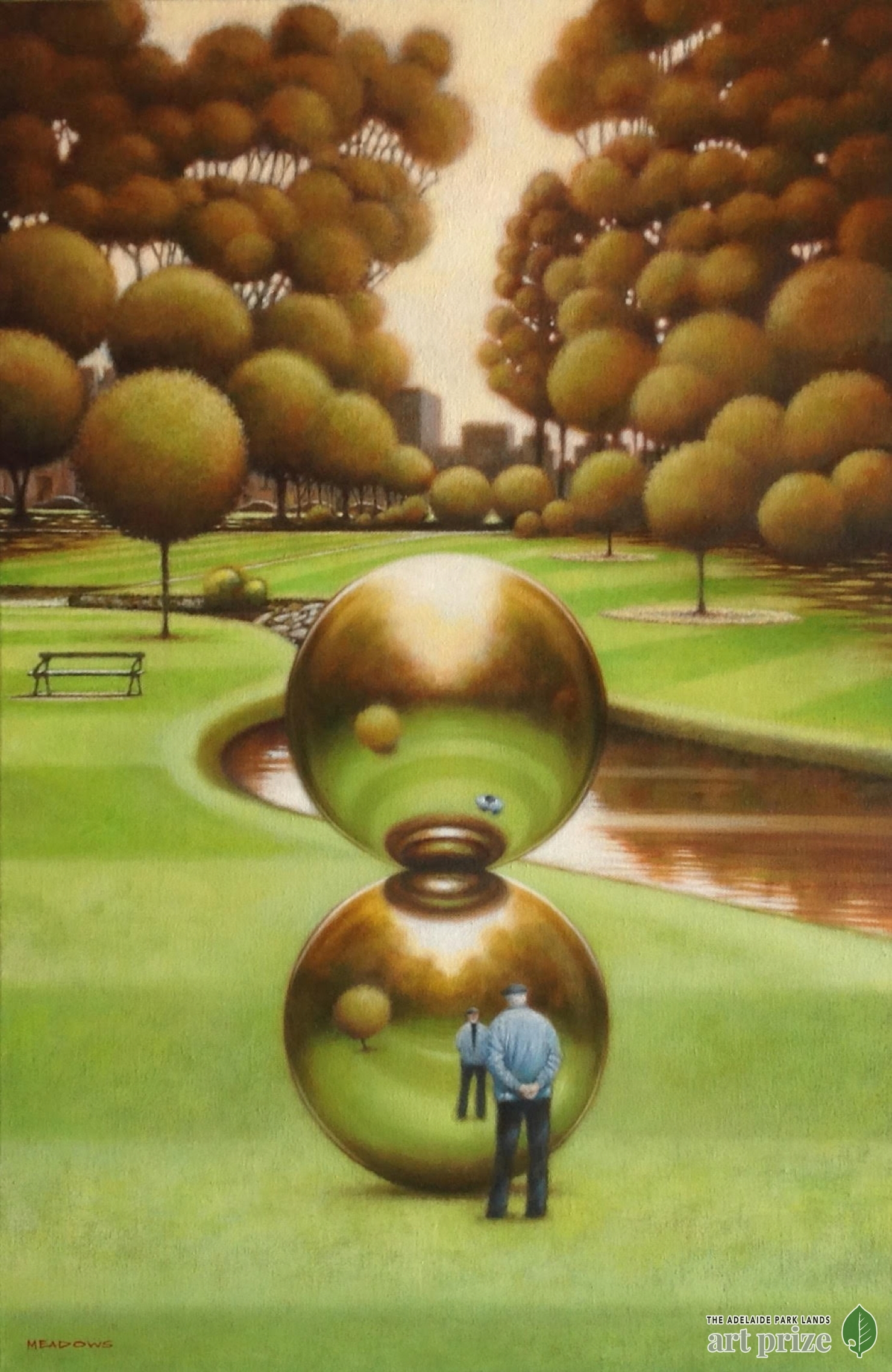 "$20,000 first prize winner of the 2018 Park Lands Art Prize - Christopher Meadows  ""Spheres and Reflections""  - oil on canvas"