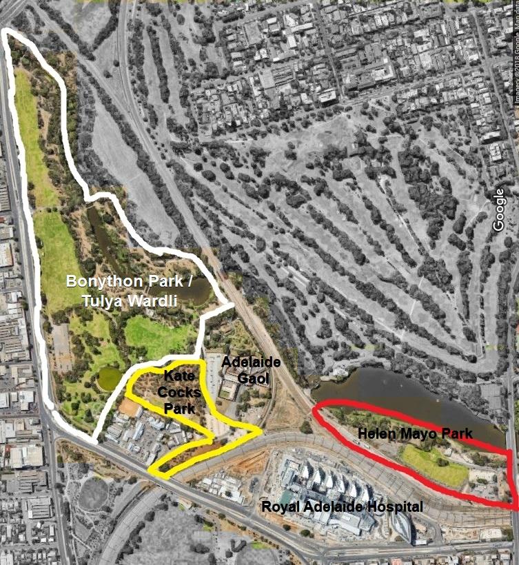Park 27 - including Bonython Park / Tulya Wardli, Kate Cocks Park, Helen Mayo Park, the 'Biomedical Precinct', Adelaide Gaol and Thebarton Police Barracks