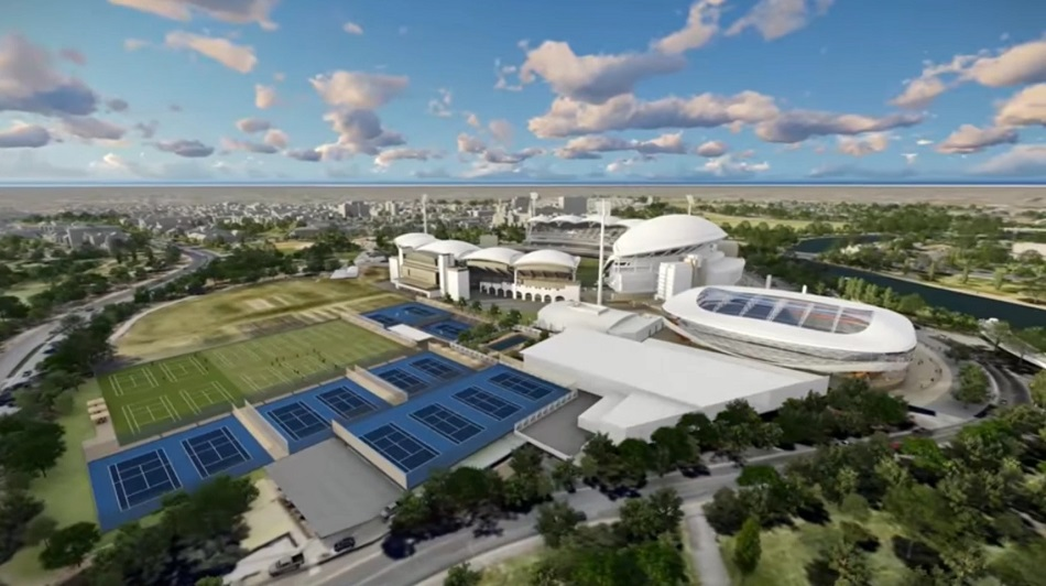 "Tennis SA's publicity shows their hoped-for vast area of concrete, and a massive new covered stadium alongside Adelaide Oval. There is, as yet, no funding for this so-called ""Stage 2"" but the current ""Anchor Project"" is intended to help realise this ambition."