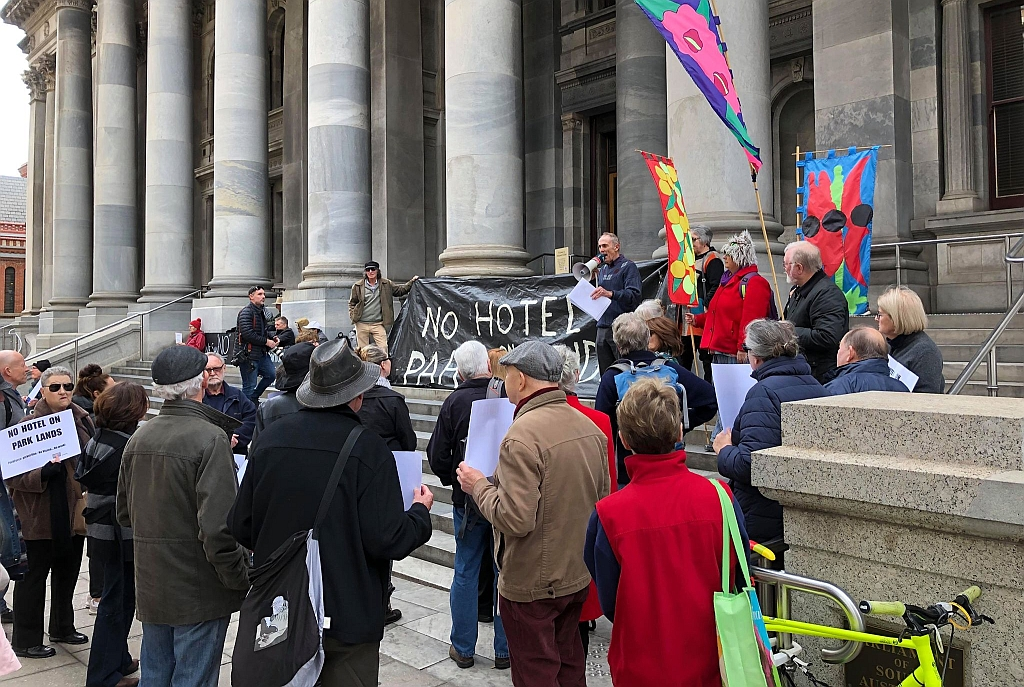 """No Pub in the Park"" rally on 5 June 2019, prior to delivering APPA's petition to the Premier"