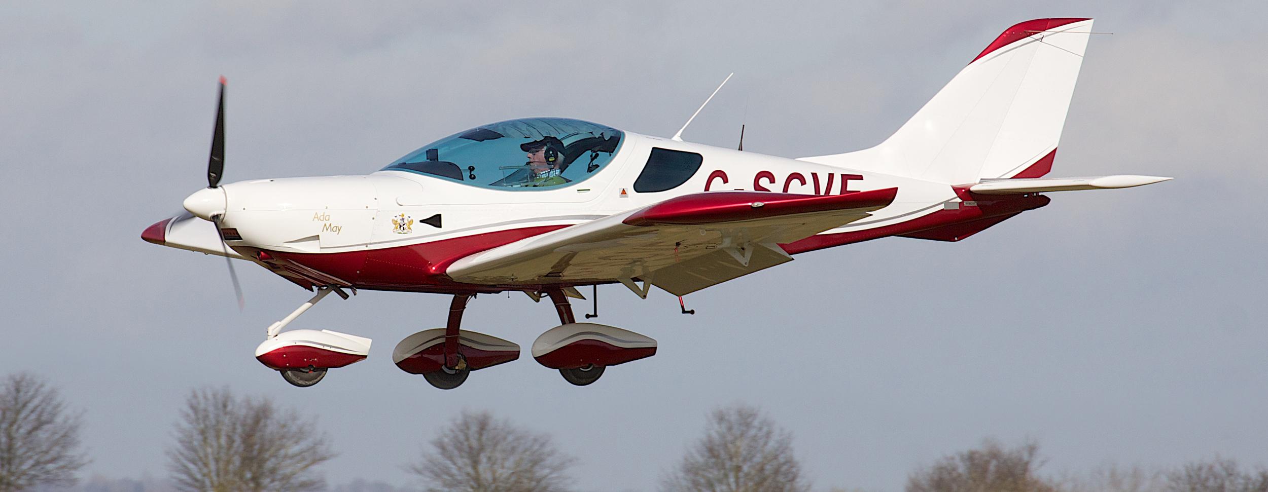 Vic Flintham piloting his Czech Sportcruiser G-SCVF at Fowlmere in 2015