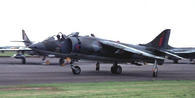 GR Mk 1 XV???/19 of the Harrier Operational Conversion Unit at Chivenor in 1972 (Author)