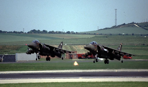 Harriers GR Mk 5 ZD401/AA and GR Mk 7 ZD432/N of 20(R) Sqn, 233 OCU get airborne from Boscombe Down in 1992 (Author)