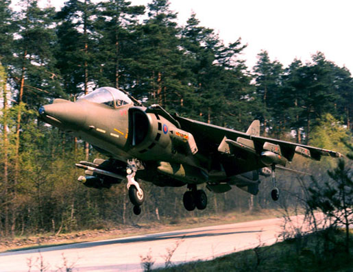 GR Mk 7 coded CD of 4 Sqn taking off from a roadway in Germany (MoD)