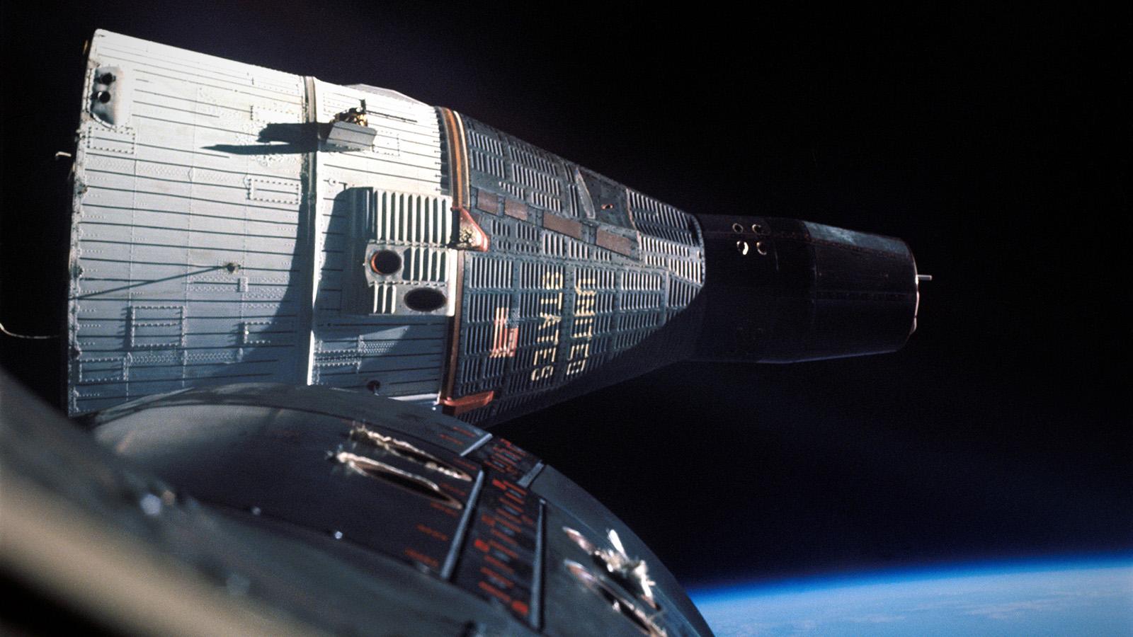 Gemini 7 as seen from Gemini 6, image courtesy NASA