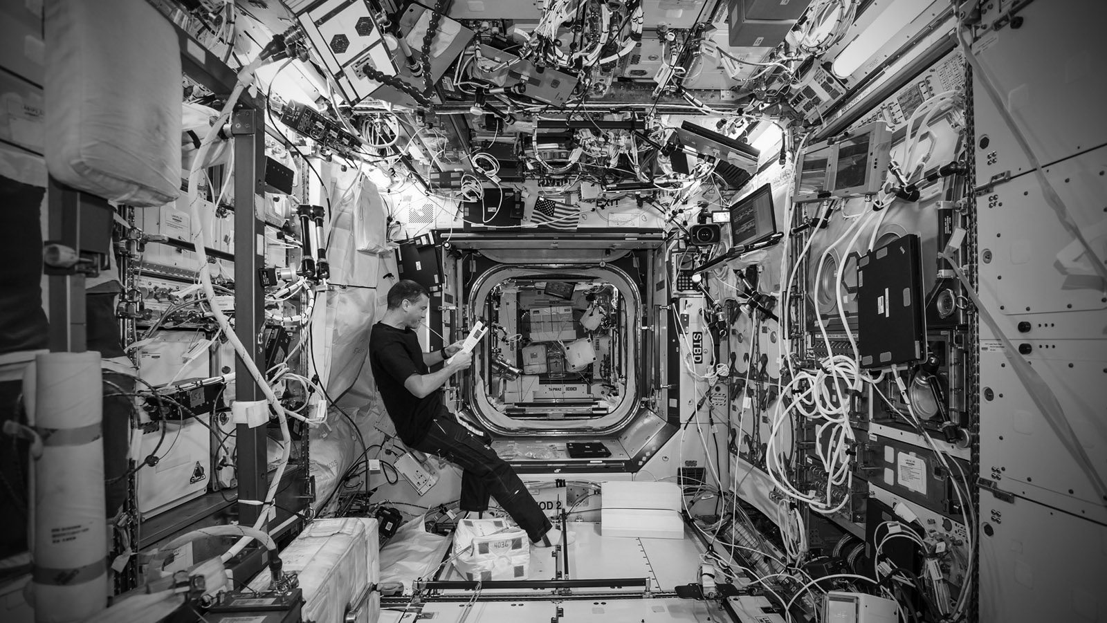 The interior of the International Space Station. (image courtesy NASA)