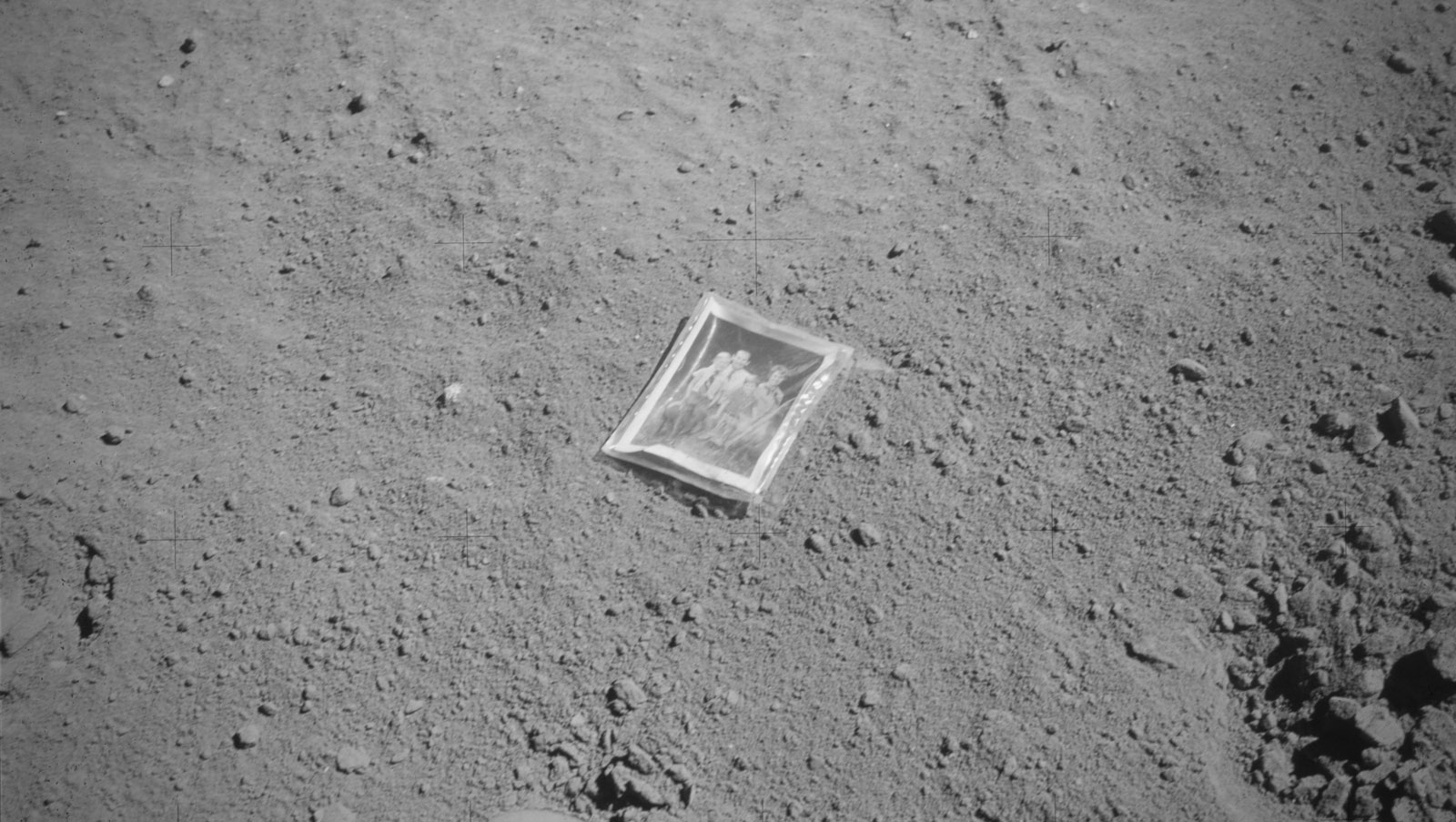 The photo left by Charlie Duke. (image courtesy NASA)
