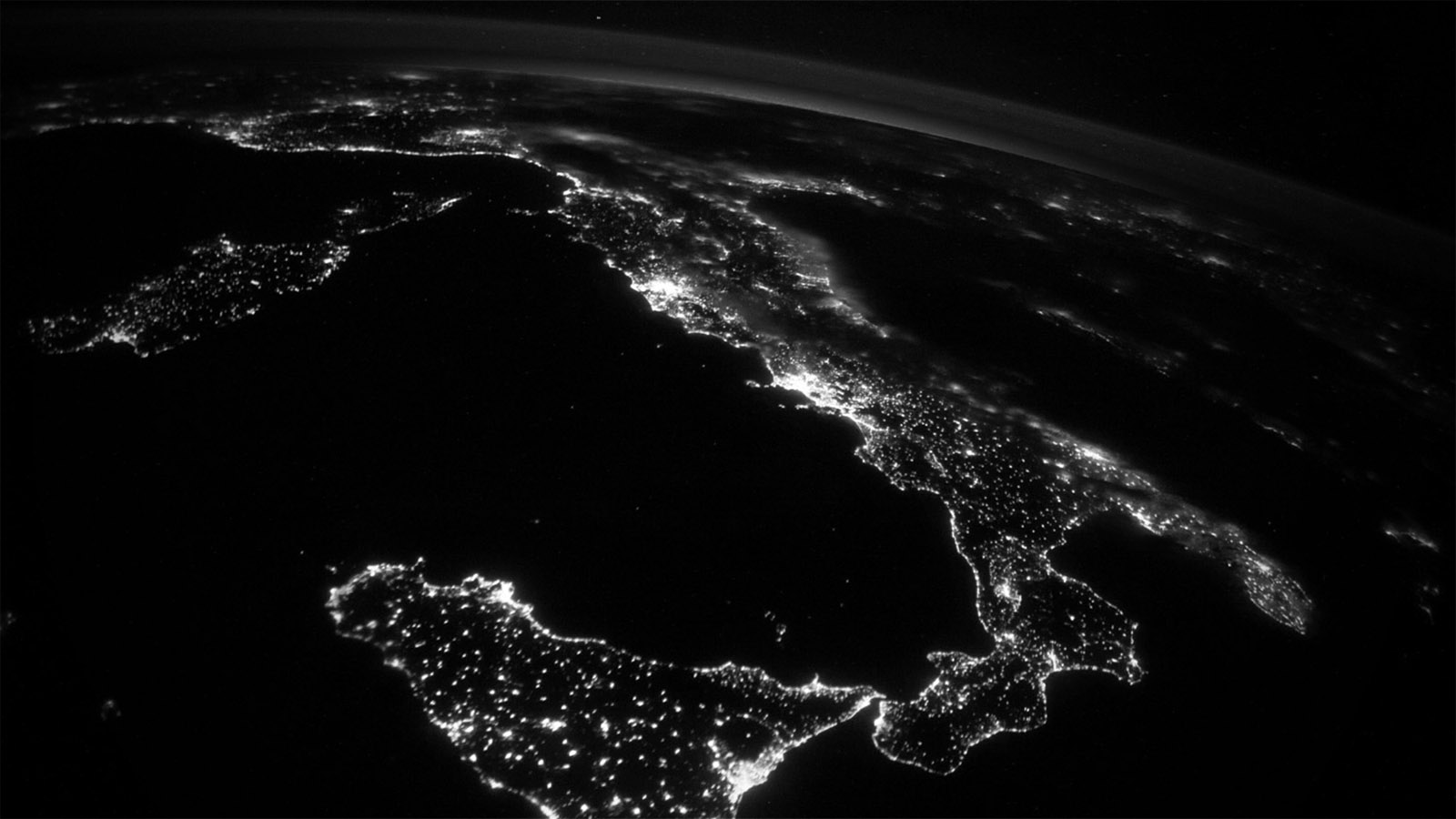 The view of Italy from the International Space Station (image courtesy NASA)