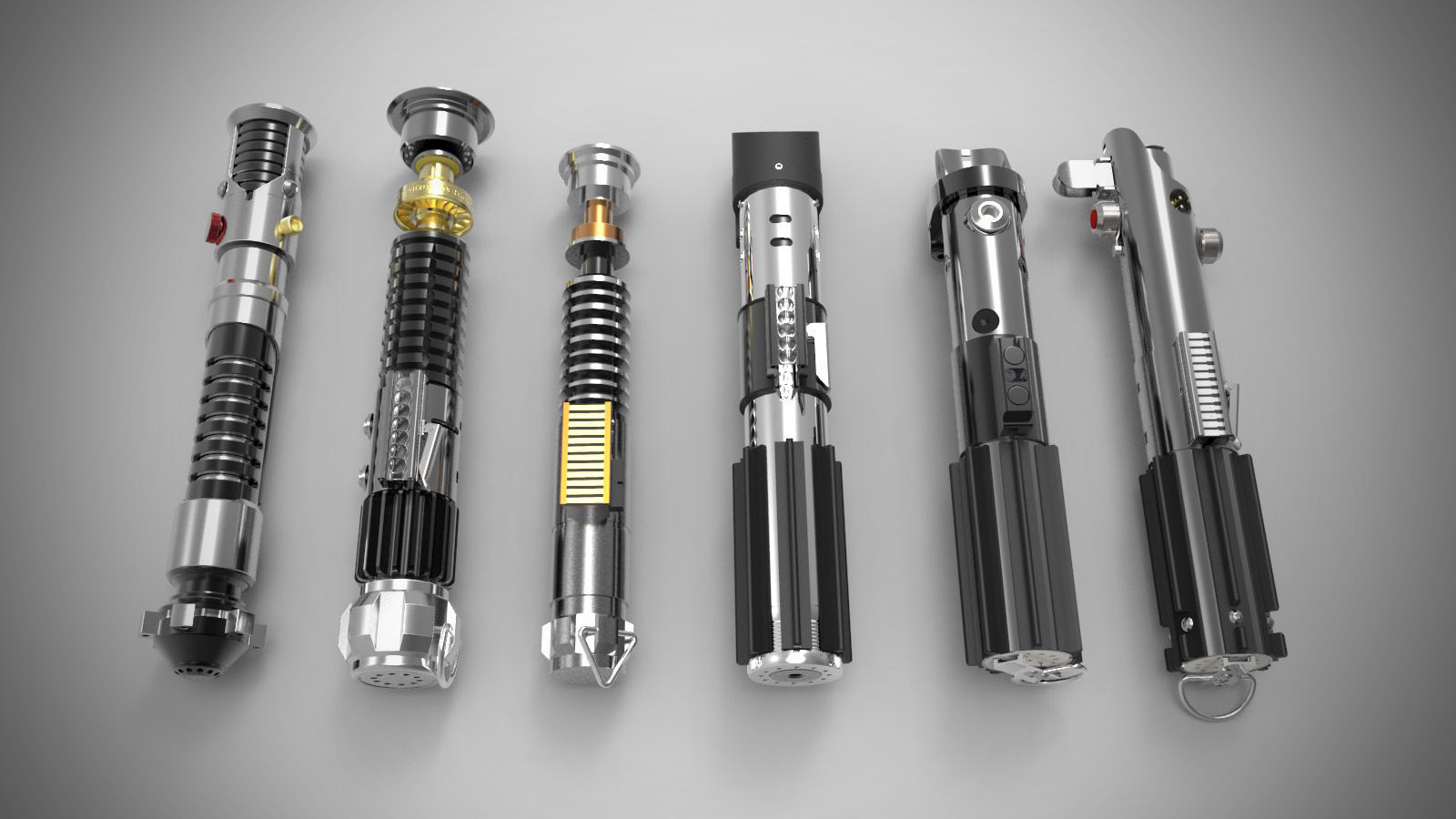 Luke Skywalker's lightsaber can be seen at the far right while Obi-Wan Kenobi's lightsaber is second from the left