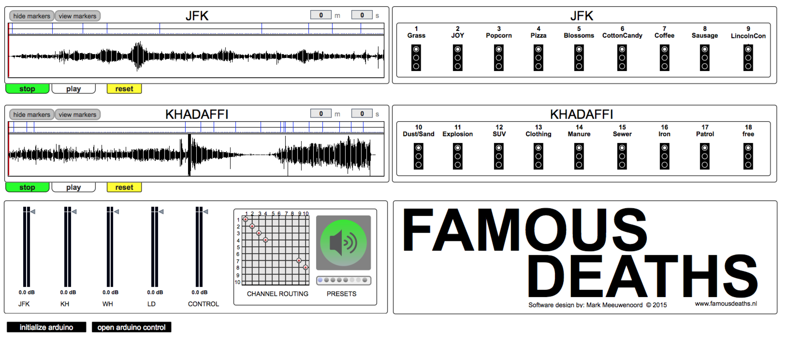 Famous Deaths software interface