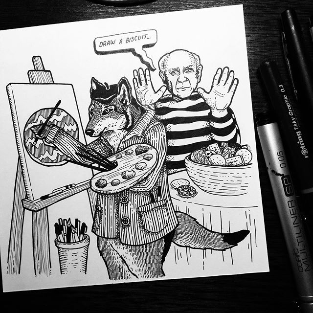 Happy #inktober, here's an illustration in collab with @touretteshero as a response to one of Jess' tics - ''Draw a biscuit' said Picasso to the Wolf'. If you're looking for inspiration there are over 6000 of Jess' tics on the #Touretteshero website, if you fancy drawing from one yourself, or just to find out more about the amazing work that @touretteshero do.