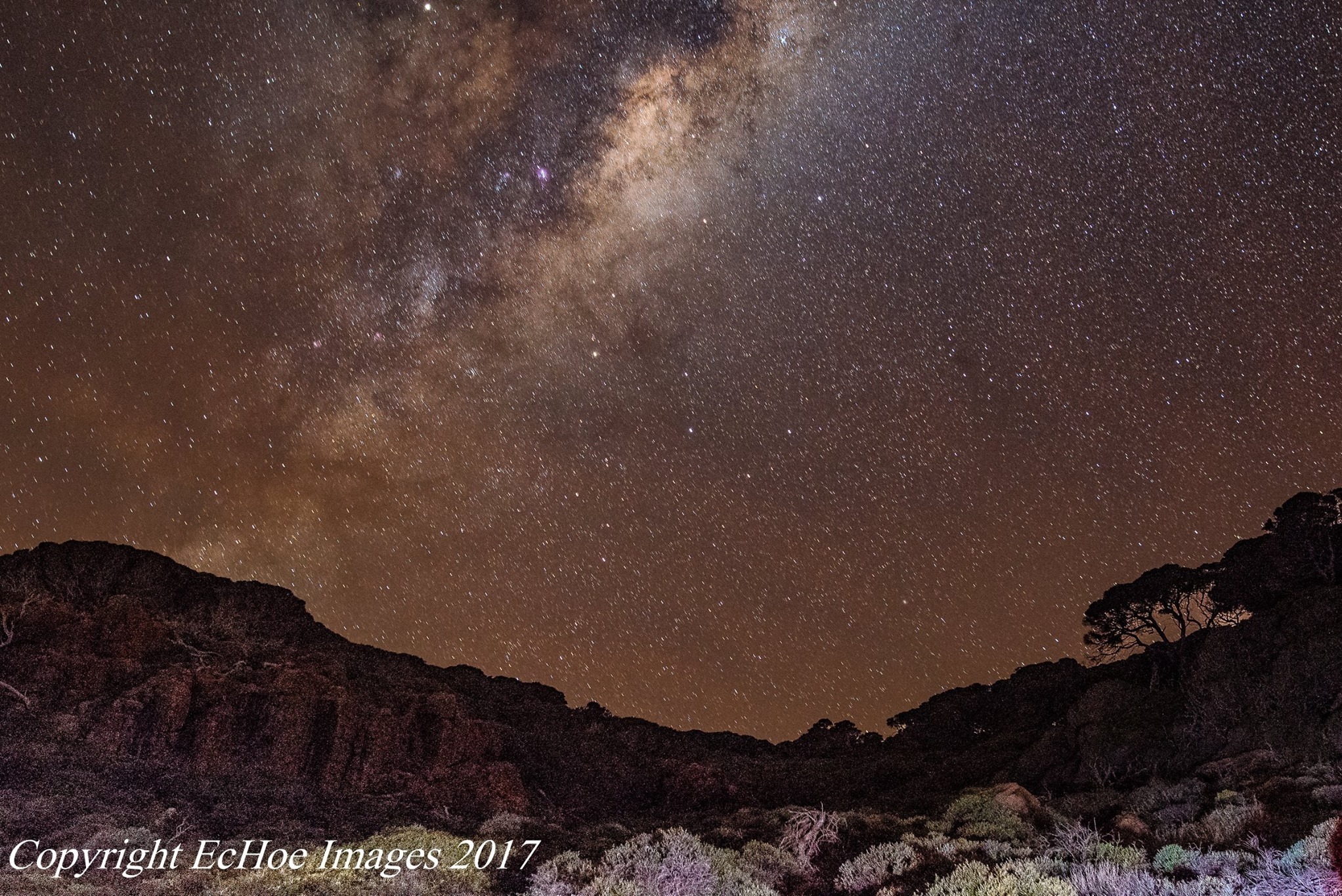 Milky Way & Emu in the Sky over Wilyabrup Cliffs during Edgewalkers Walking & Creativity Night Photography Retreat, 2017 - taken by Donna Wolter