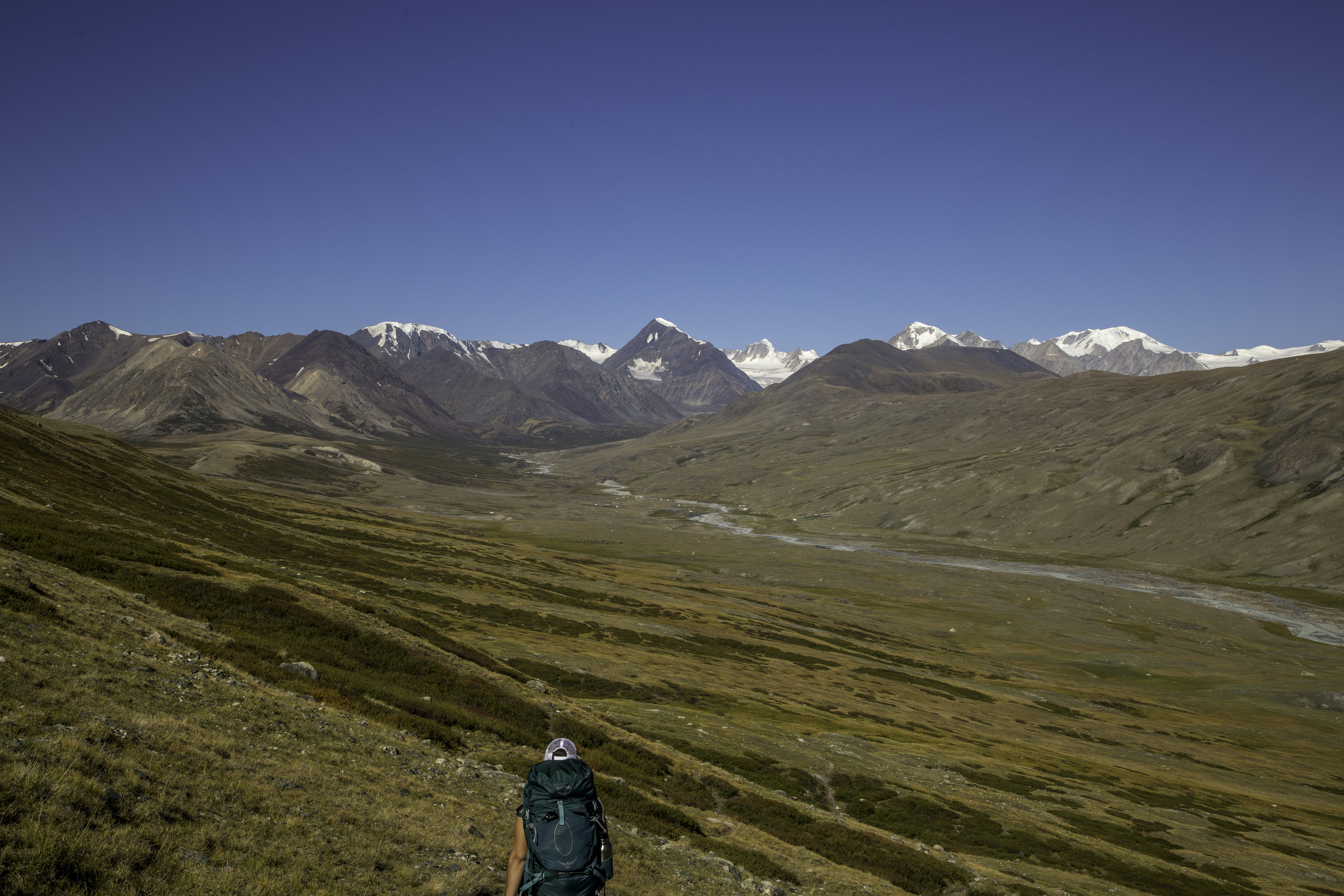Descending towards the Tsagaan Gol River - 5 sacred peaks visible in the distance.