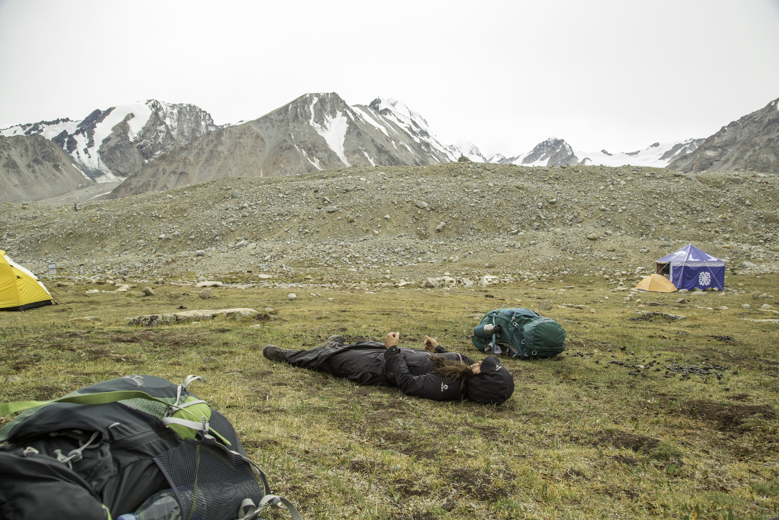 Tavan Bogd National Park - Mongolia. Testing out the gradient before setting up tent.