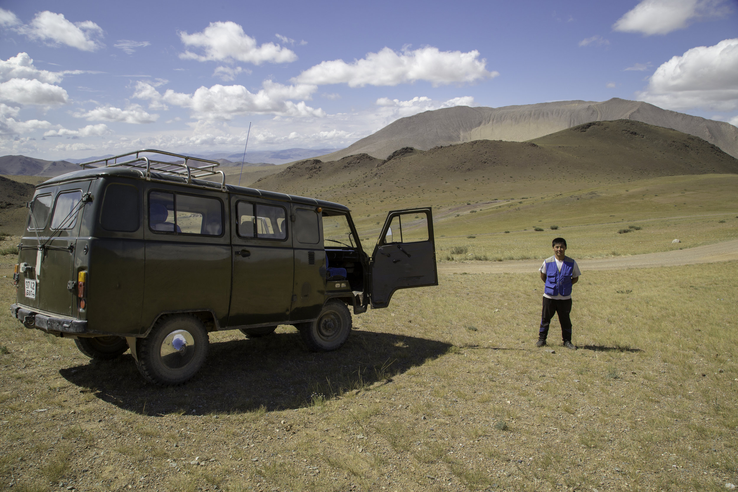 It eventually warmed up back at 2,000 metres on our way back to Ulgii - here our friendly driver stopped for us to take pics.