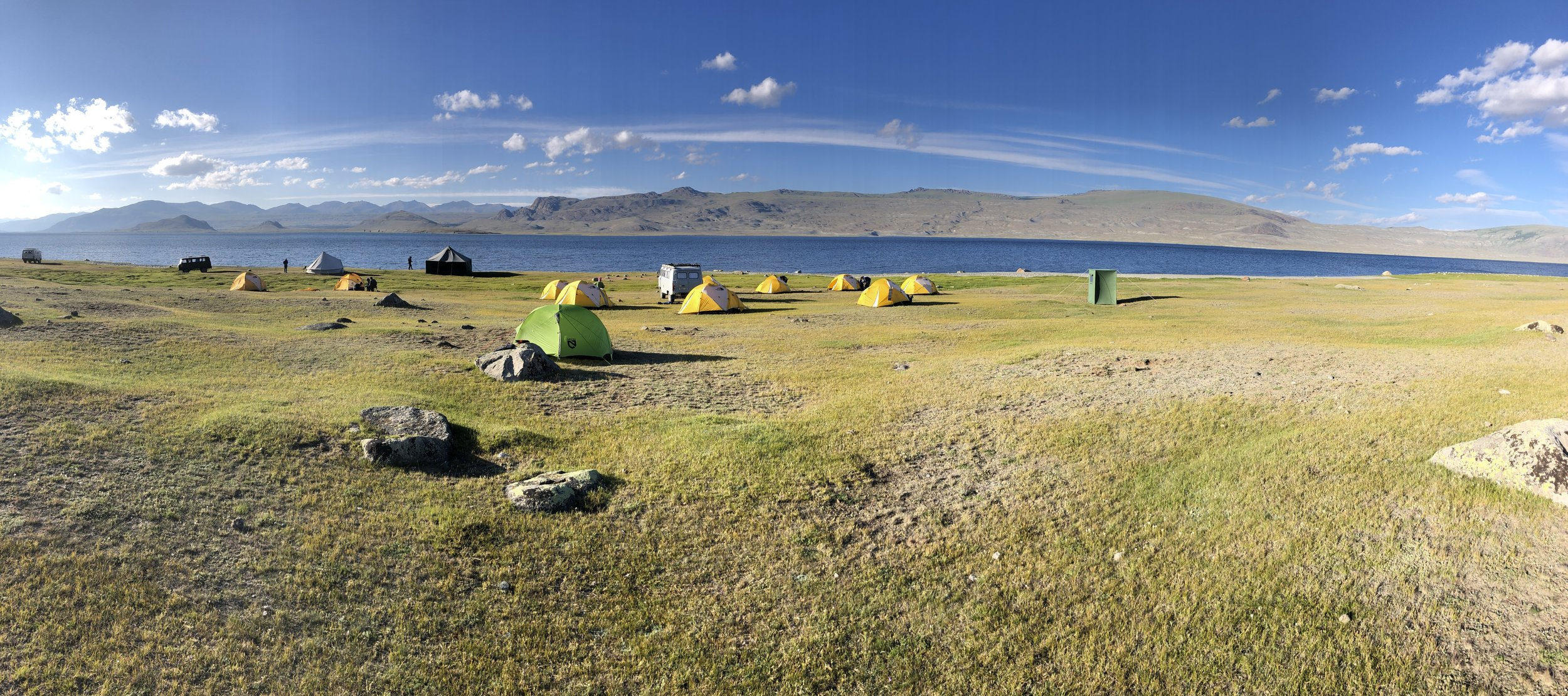 Camping on the south-western banks of Khoton Lake in the Tavan Bogd National Park - July 2019.