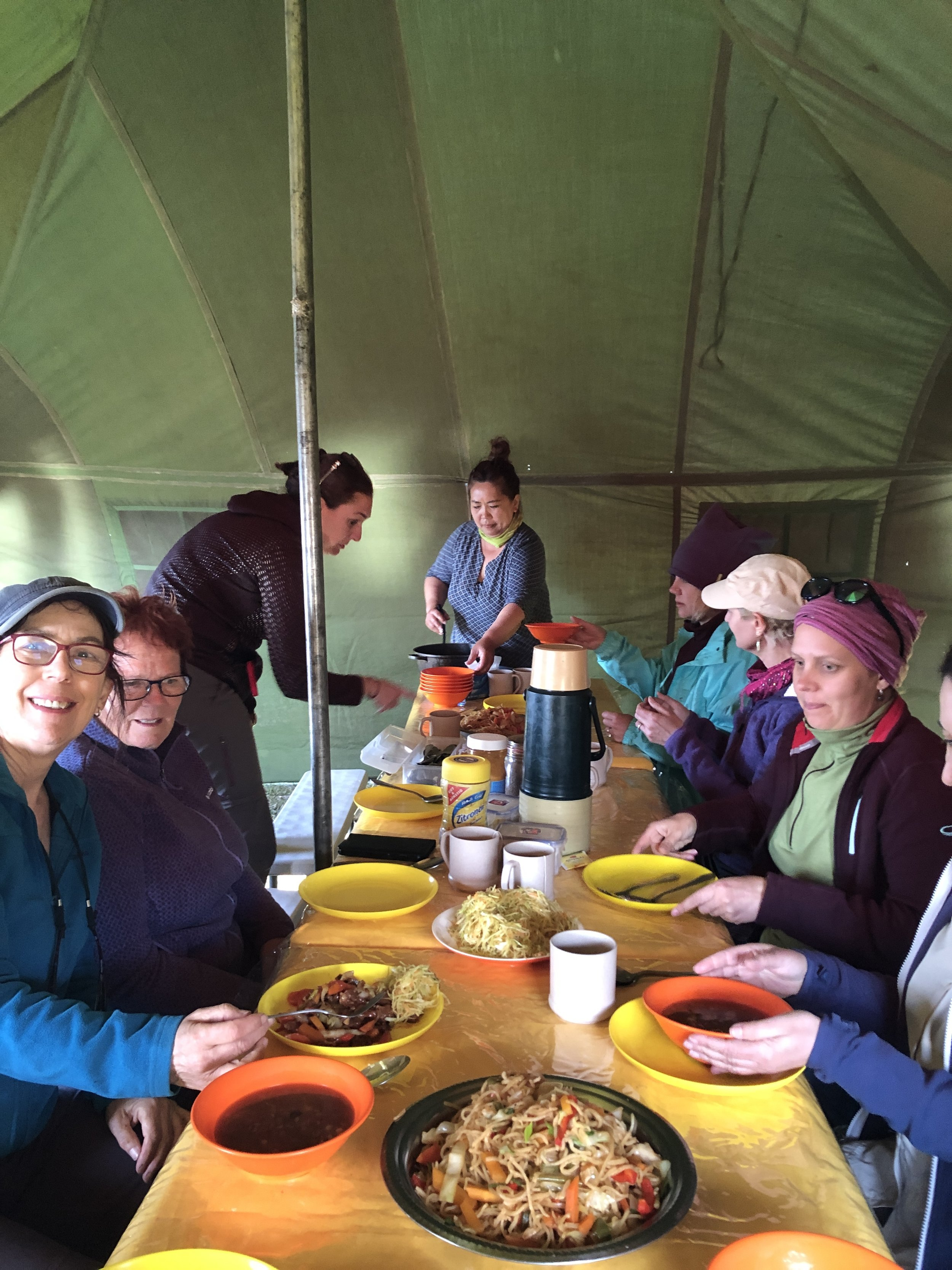 Our first dinner in the wilderness…we had a banquet every night thanks to Boggy (in background) our wonderful cook and Burma, her assistant. They managed to cook all vegetarian meals and cater for a gluten free walker!