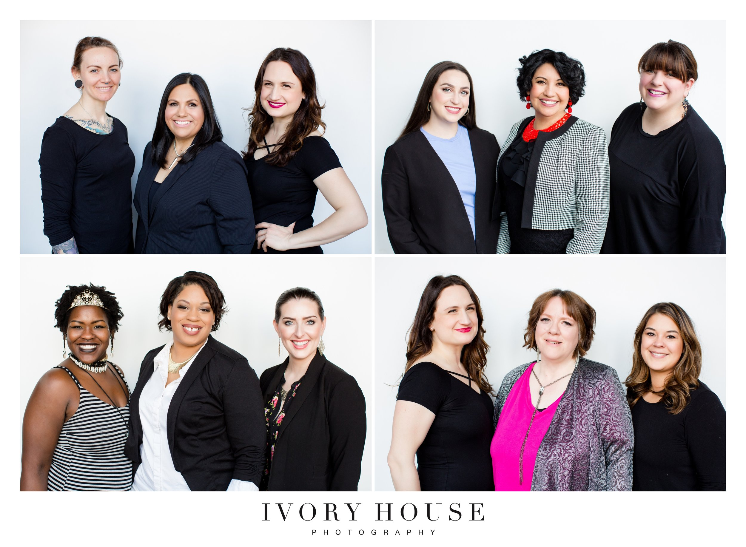 The Glam Teams, clockwise from top left: Ashley Maree Harvey (hair), Violeta, Natalie Gendle (makeup, ACADEMIC Lash & Beauty); Ivy Boyd (makeup, Ivy Boyd Makeup Artist + Beauty Blogger), Africa, Stacy Syroka (hair, Elevencherry); Desi Thompson (hair, Desi at Dolce), Jenny, Natalie Gendle (makeup, ACADEMIC Lash & Beauty); Kelsey Ziemann (makeup, Kelsi Ziemann Artistry), Jasmin, Kearra Chester (hair)