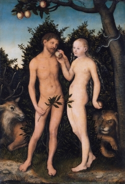 Lucas Cranach the Elder painting of A and E with an apple. The original fruitarians.