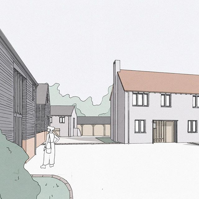 Exciting project on the drawing board for creation of a new community in Hertfordshire. The project regenerates an existing disused agricultural/industrial site to provide over 30 new homes. Planning is due to be submitted next month. . . . . . . #londonarchitects #ruralarchitecture #ruralhousing #brownfield #farmyards #lowrisehighdensity #housing #londonarchitecture #residentialarchitecture #residentialdesign #architecture #architecturalsketch #barns #barnconversions