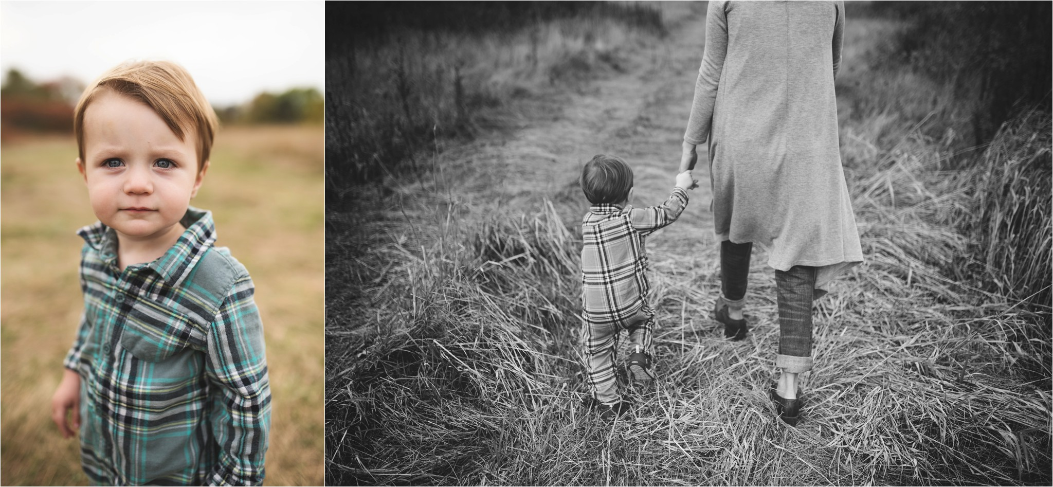little boy holding moms hand