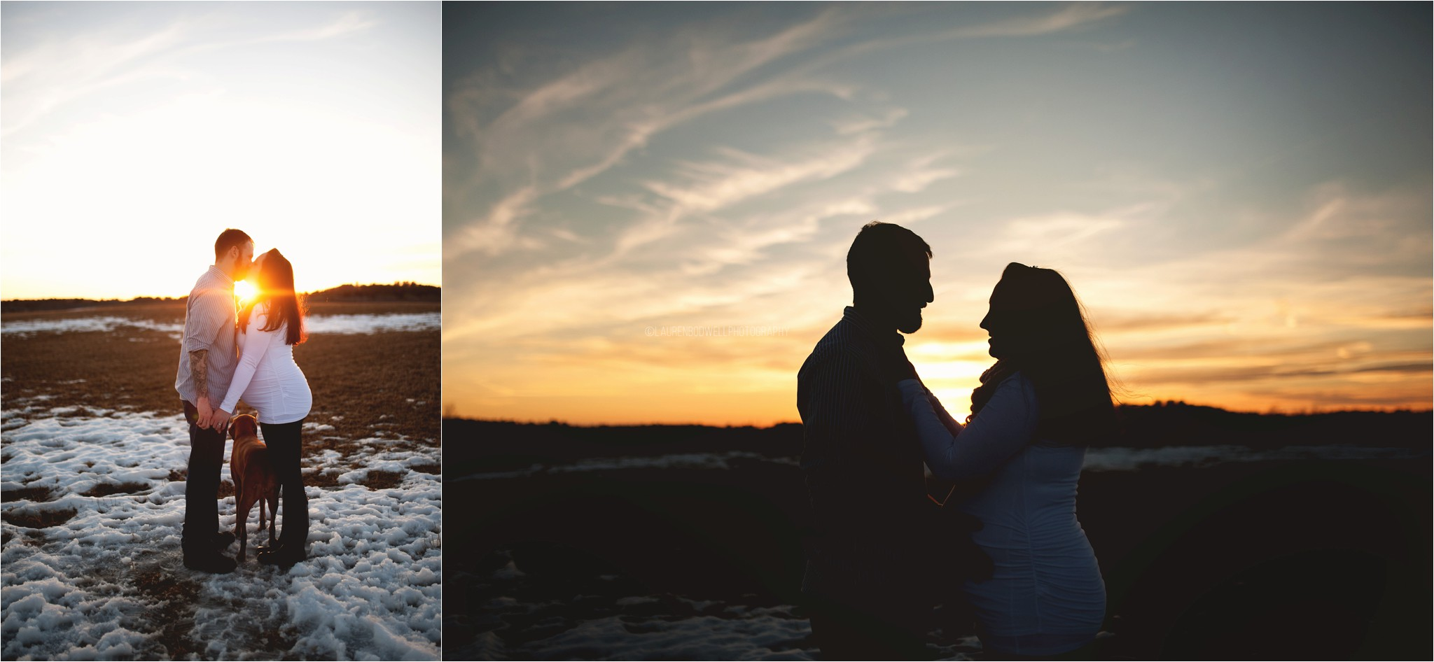 man and women standing at sunset