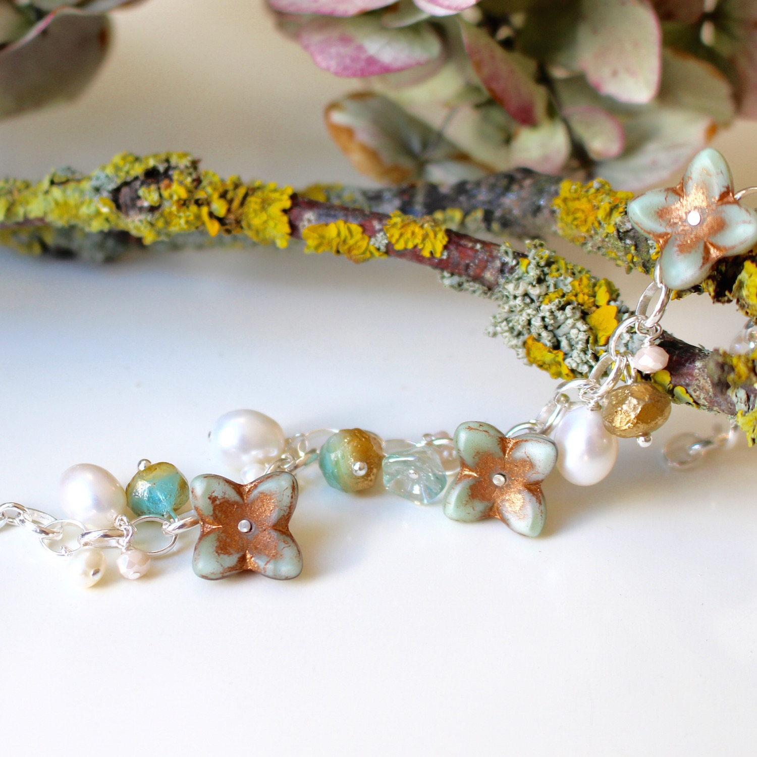 Blue Hydrangea Bracelet by Nina Parker. Glass, pearls and Sterling silver.