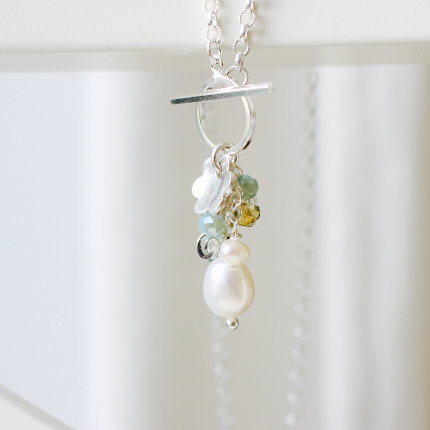 Soft duck eggy blue glass and pearls necklace. Sterling silver. By Nina Parker.