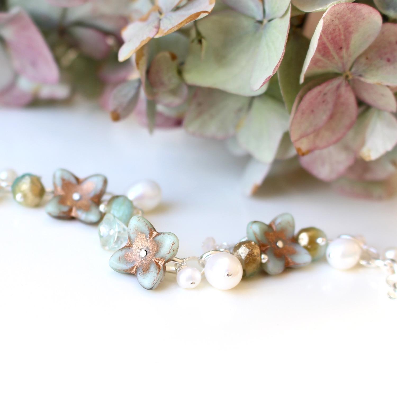 Blue Hydrangea Bracelet by Nina Parker