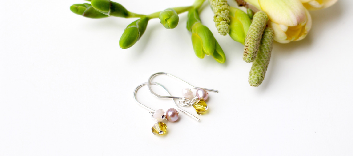 Silver earrings with freshwater pearls, Swarovski crystals and pale pink glass droplets