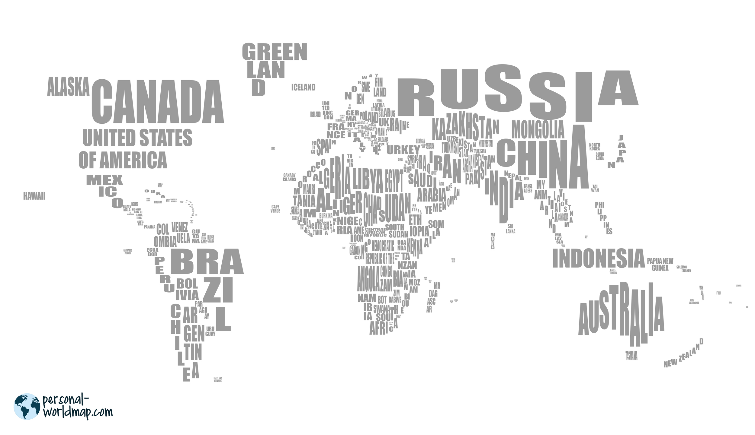 WORLD MAP: NAMES  Color your visited countries on our world map with the countries names