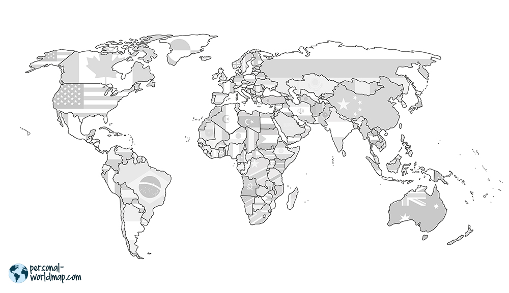 WORLD MAP: FLAGS  The countries flags are printed in bright grey and you can color them