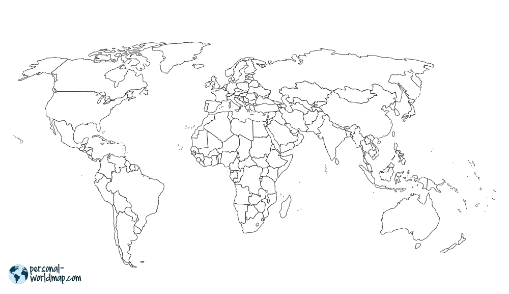 WORLD MAP: BORDERS  Sign the countries you have travelled on this world map in the design with countries borders