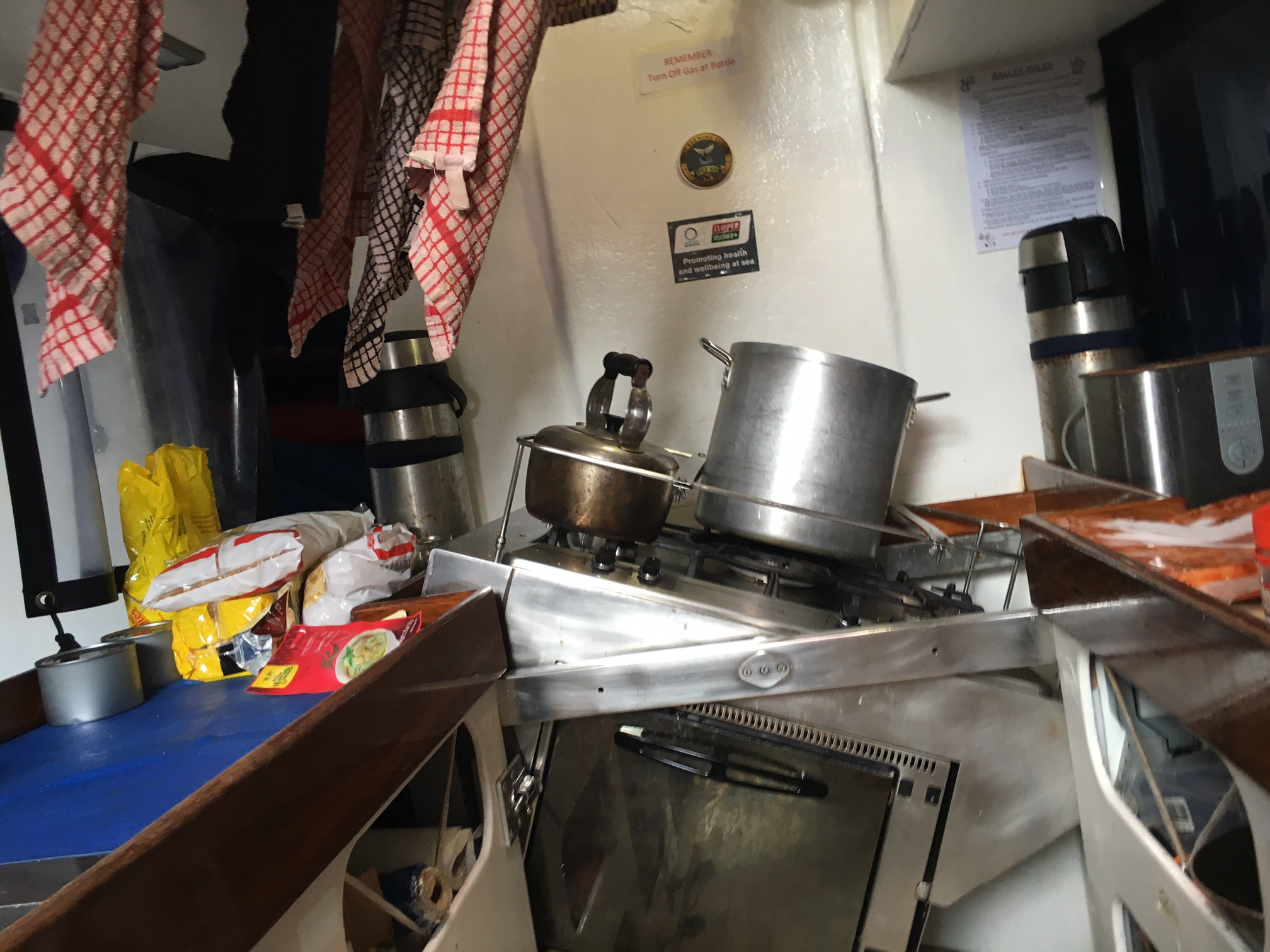The galley - gimballed stove