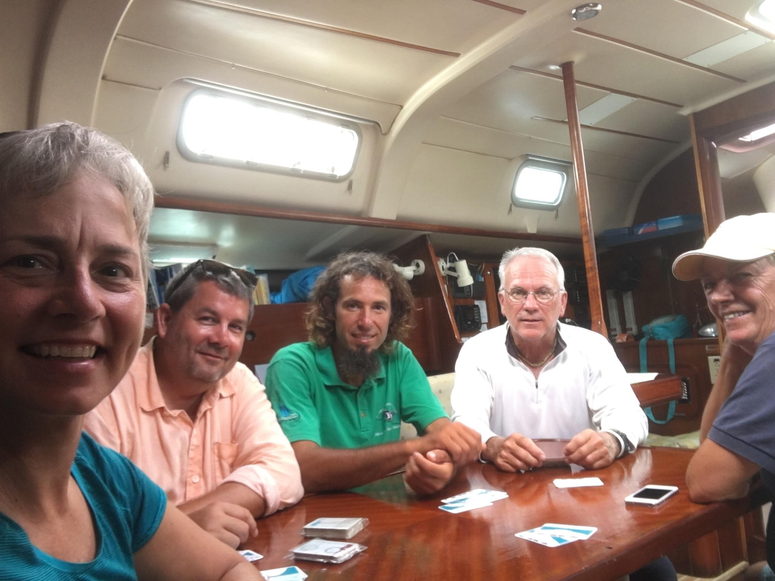 Lynn, Steve, Dian, Neil, Pippa below deck with ColReg cue cards