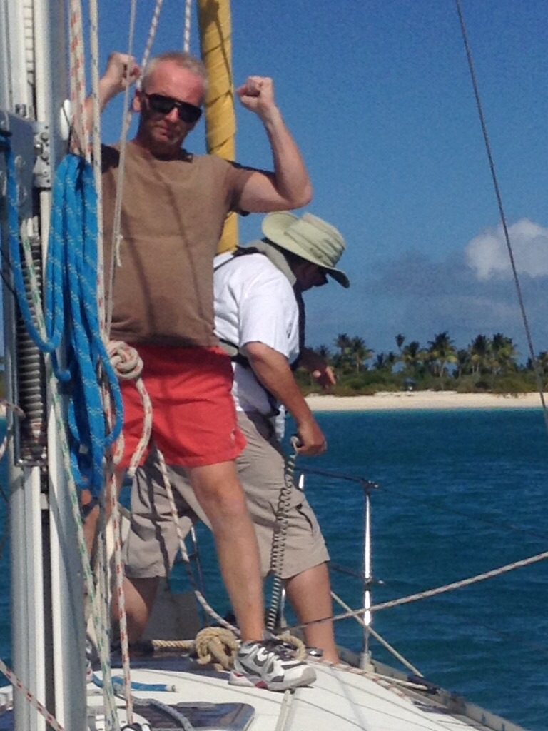 Steve laying the anchor and Rich, approving.