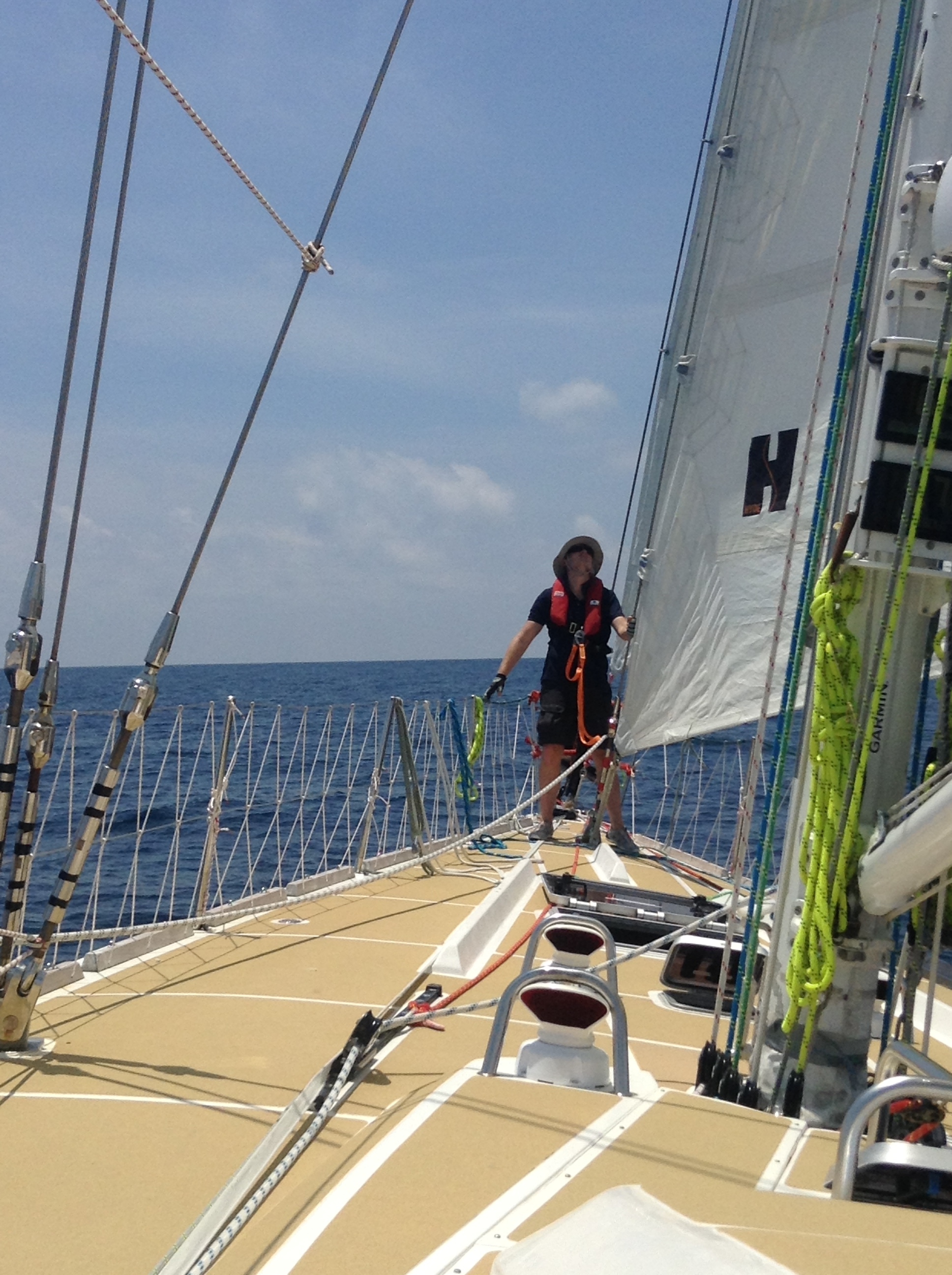 John checking sail trim