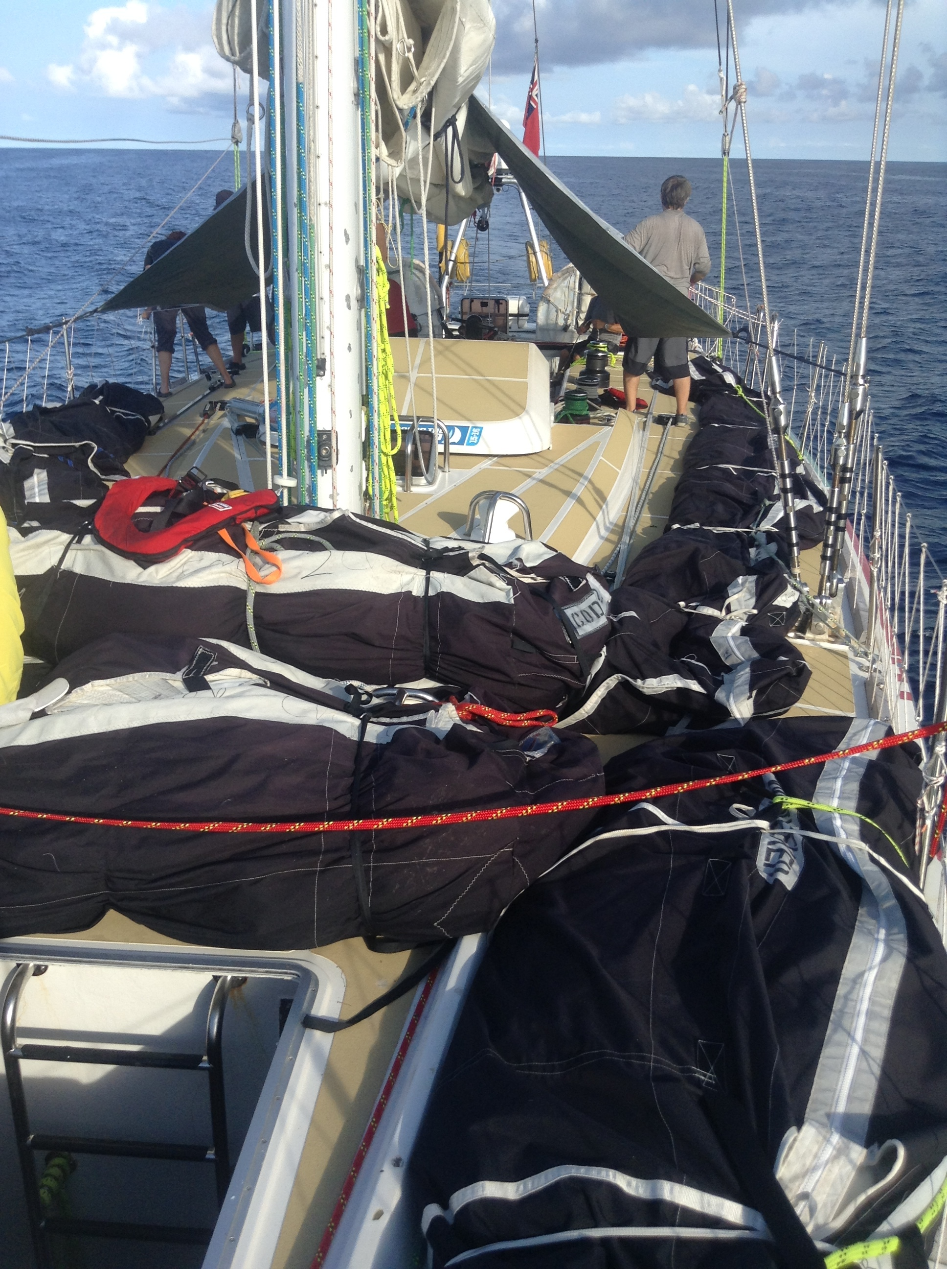 All sails in bags on deck for inspection