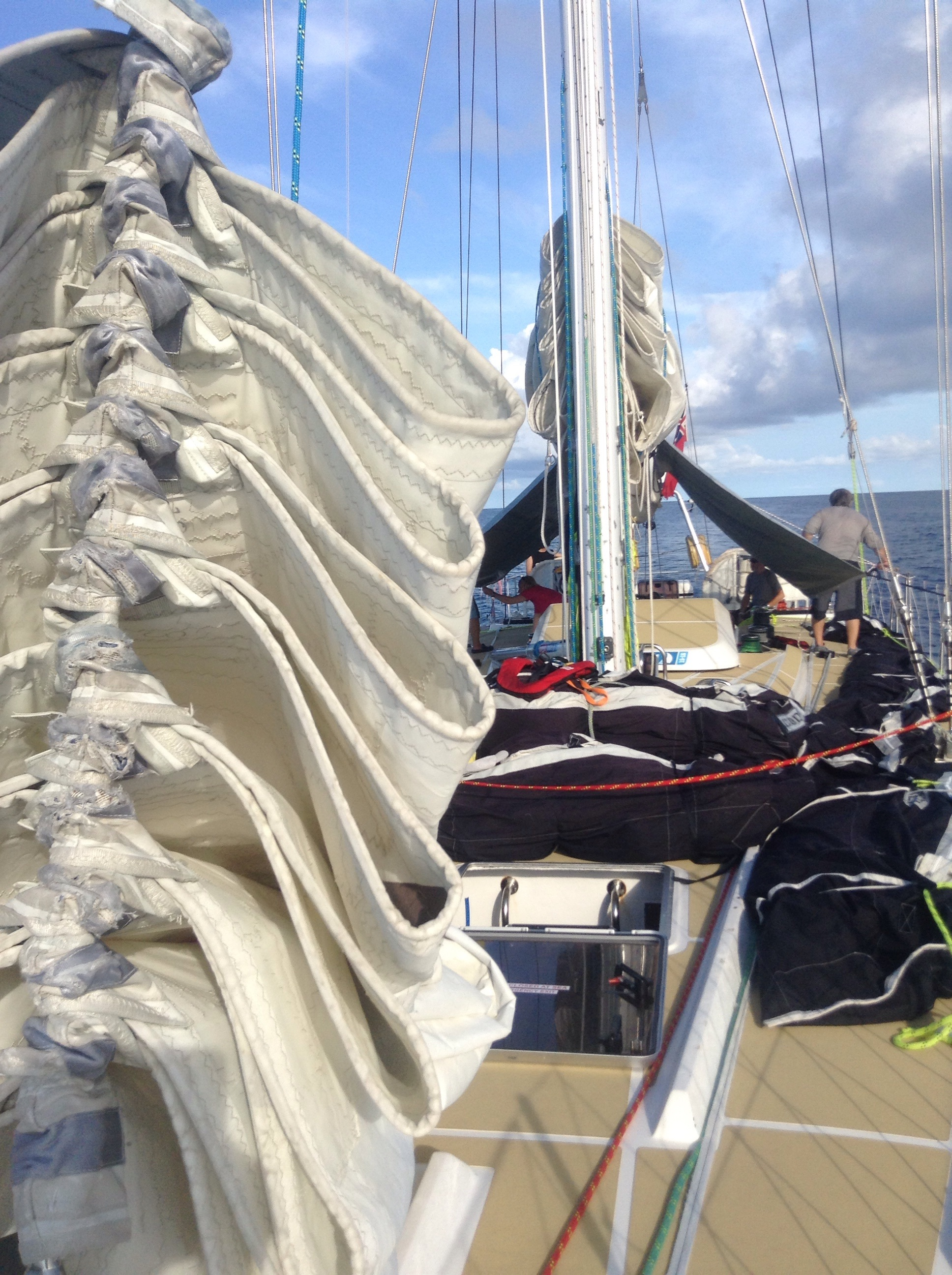 The staysail stayed hanked on in case the engine konked out.