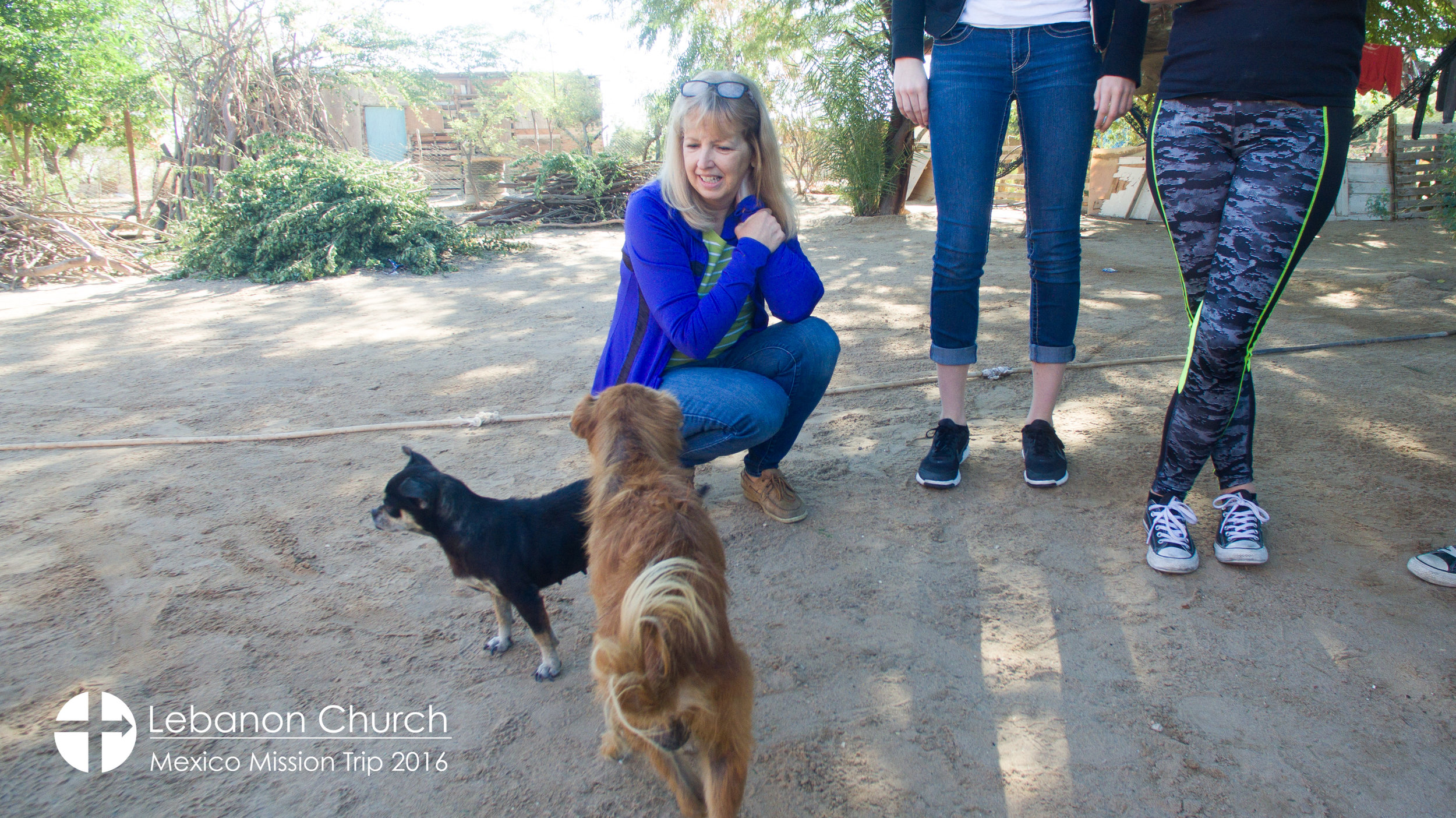 Leslie and some of the dogs at Miguel's house.