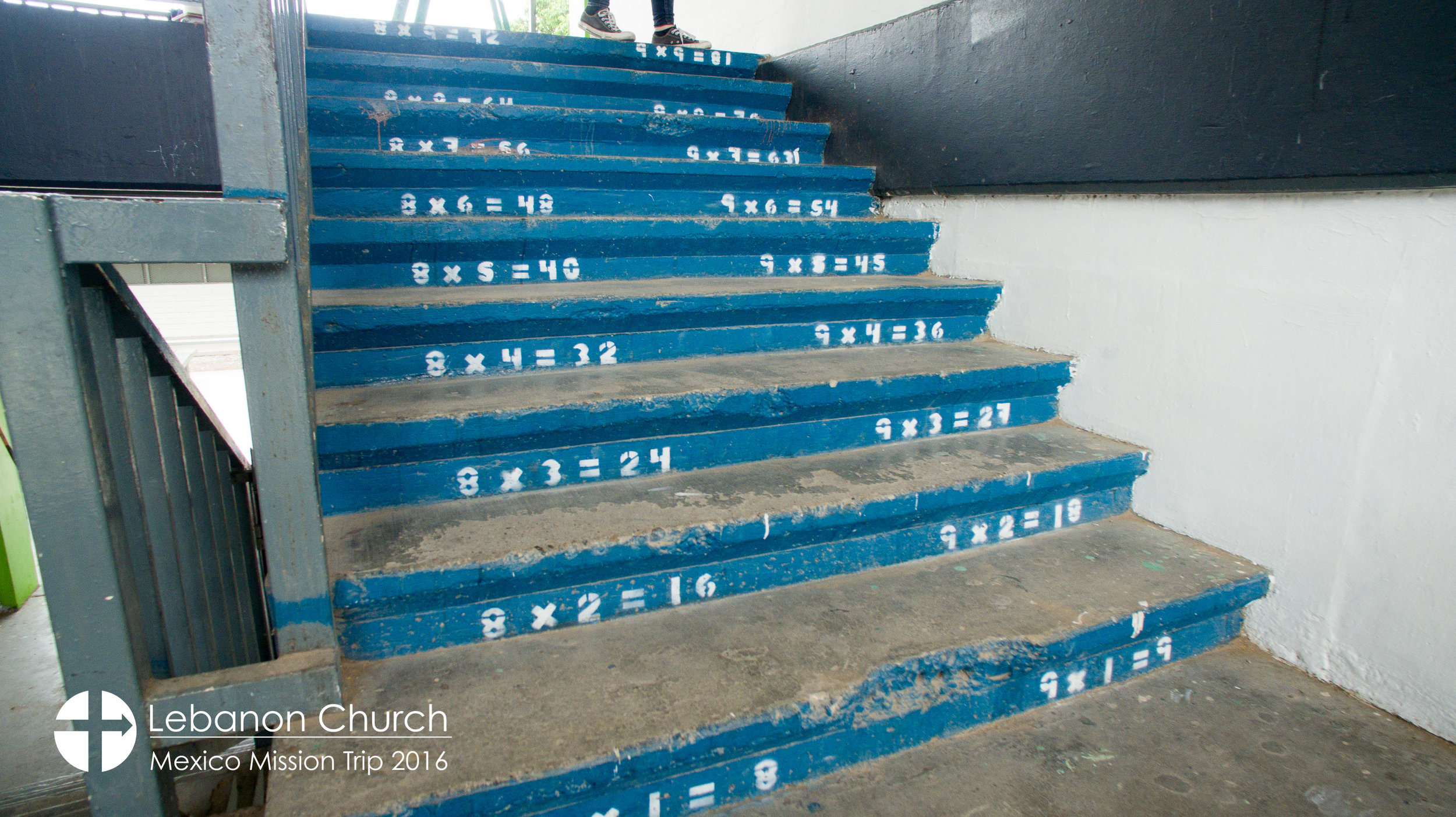 Times tables on the steps at the school