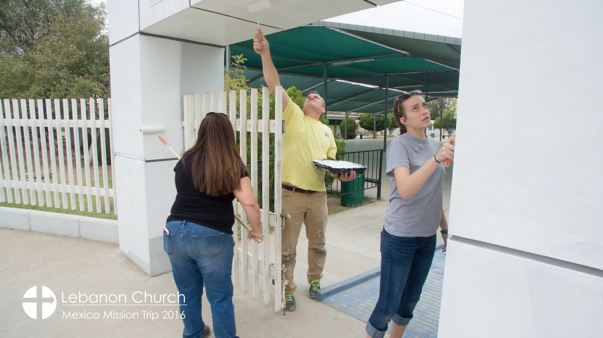 Painting the entry to the school