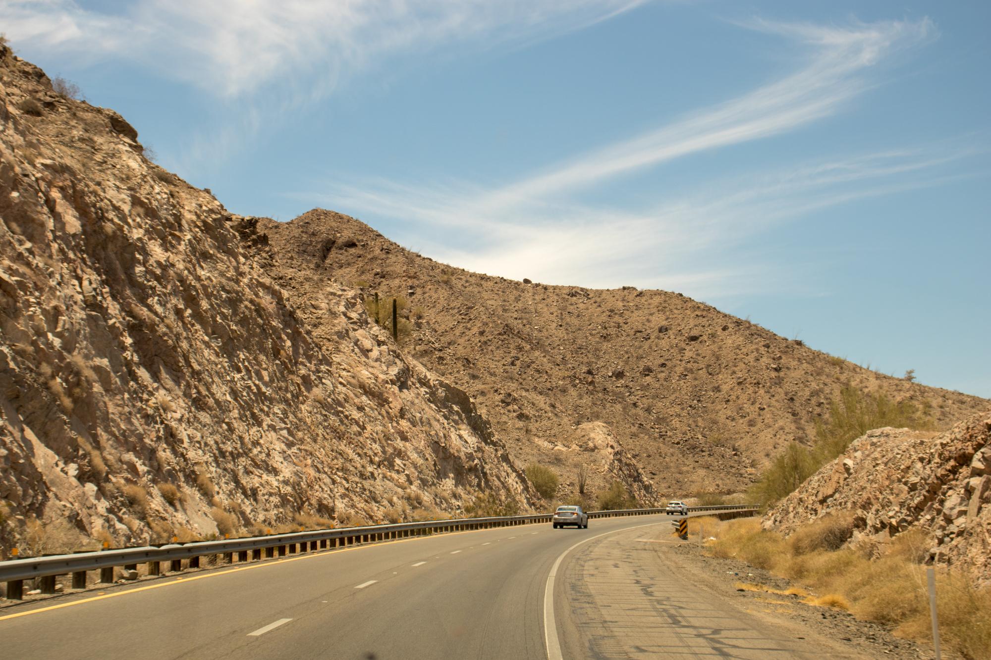 Driving through Arizona Mountains