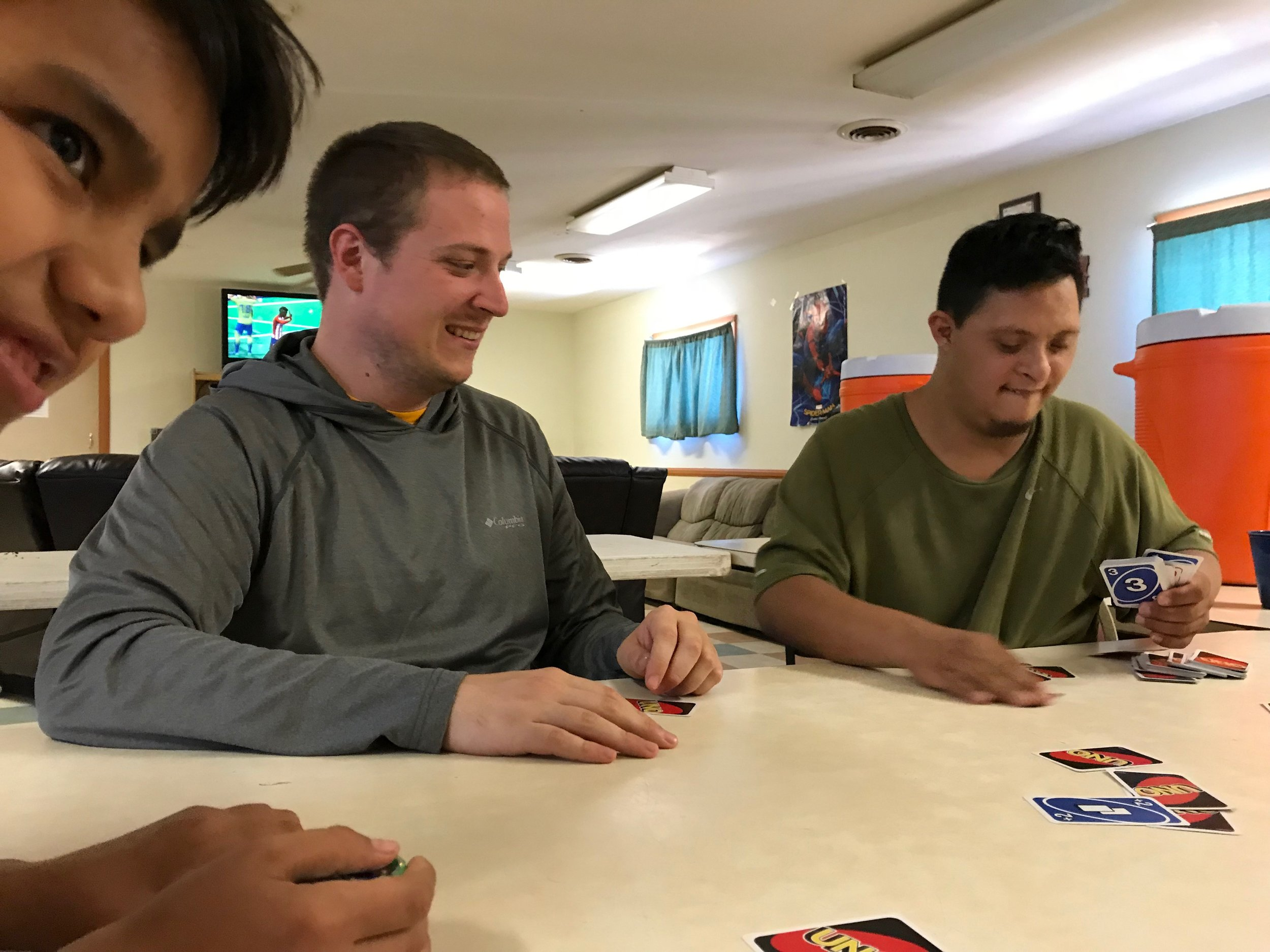 Ryan playing cards with the boys