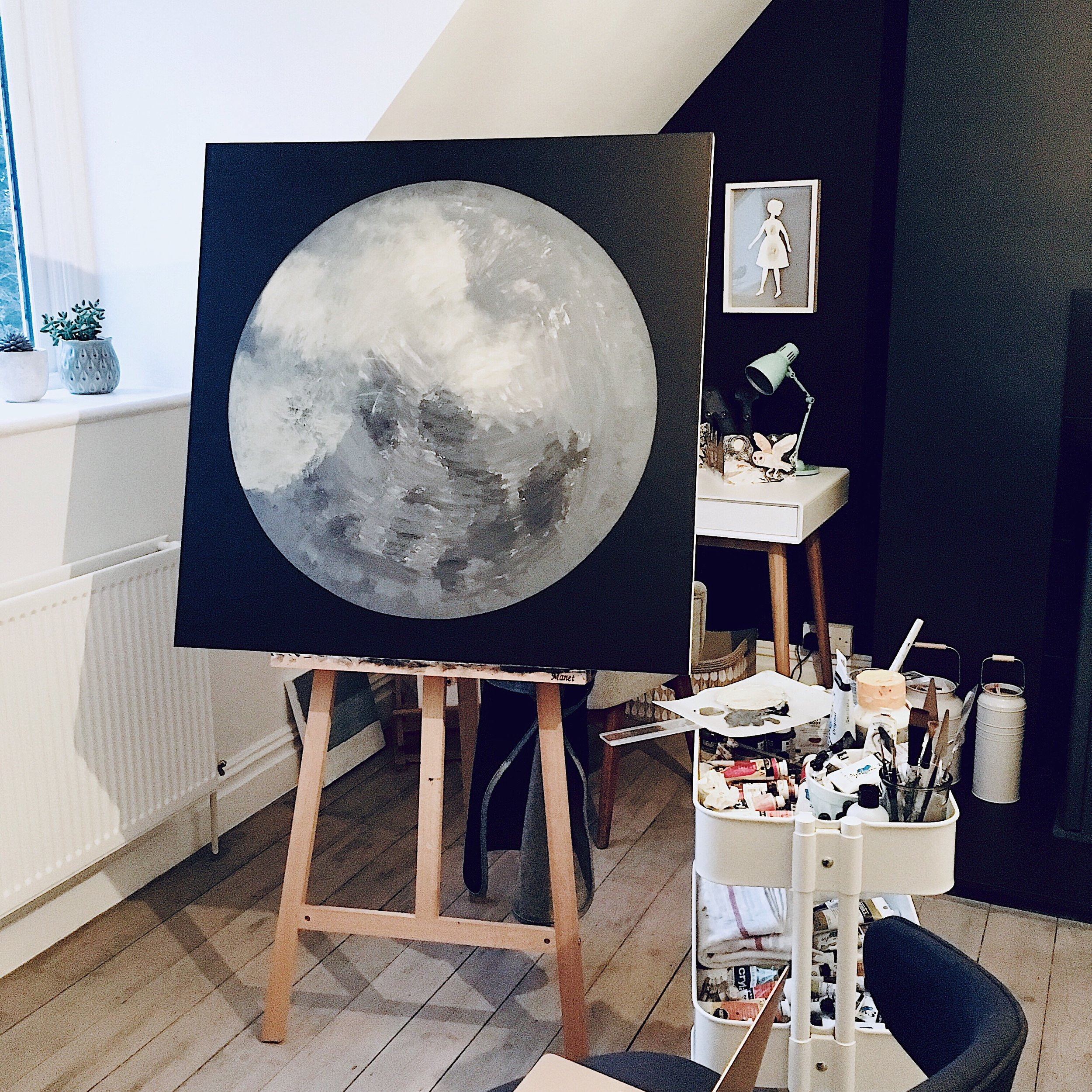 The first painting from the new Moonscape series in progress in the studio. Reigate, Surrey, April 2019 © Natasha Newton