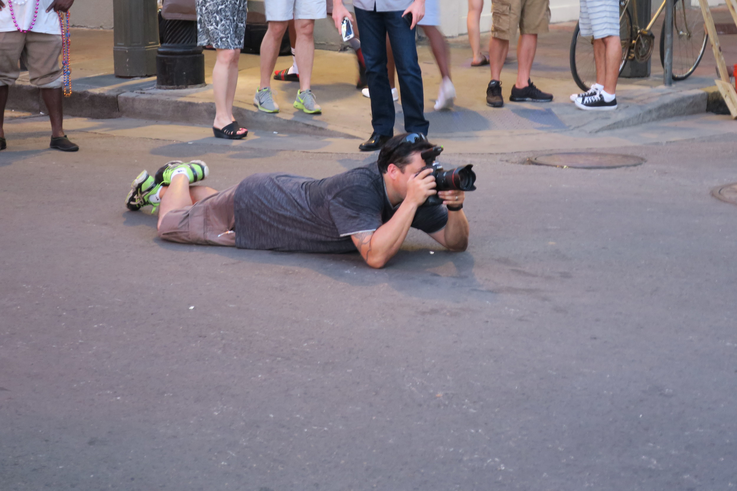 How many other folks would actually lay down in the middle of Bourbon Street? I really needed a shower when we were done with THIS session!