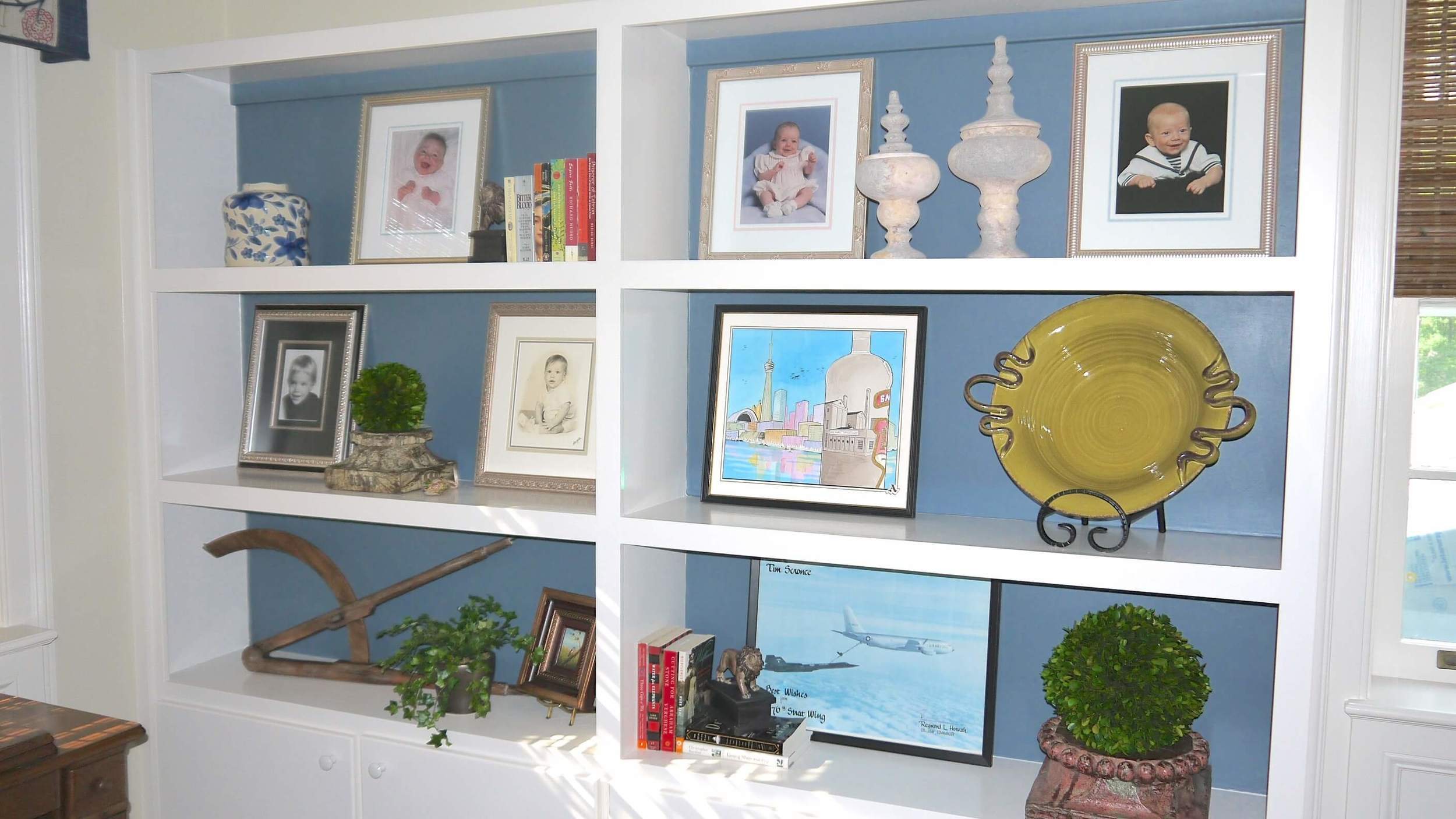 Painting inside built-in bookcases
