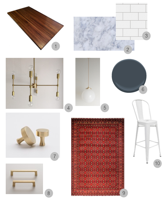 1.  Walnut butcherblock by Ikea  2. Carrara marble counters 3. Subway tile backsplash 4.  Chandelier by Triple Seven Home  5 .   Pendants by Triple Seven Home  6 . Cabinet paint in Blue Note by Benjamin Moore   7.  Cabinet knobs by Schoolhouse Electric  8.  Drawer pull by Schoolhouse Electric  9. Oriental rug   (I won't link to this because it's VERY pricy but ours is similar in style handed down from Mike's grandmother...heirloom pieces are very budget-friendly ;)) 10.  Counter stools - Target
