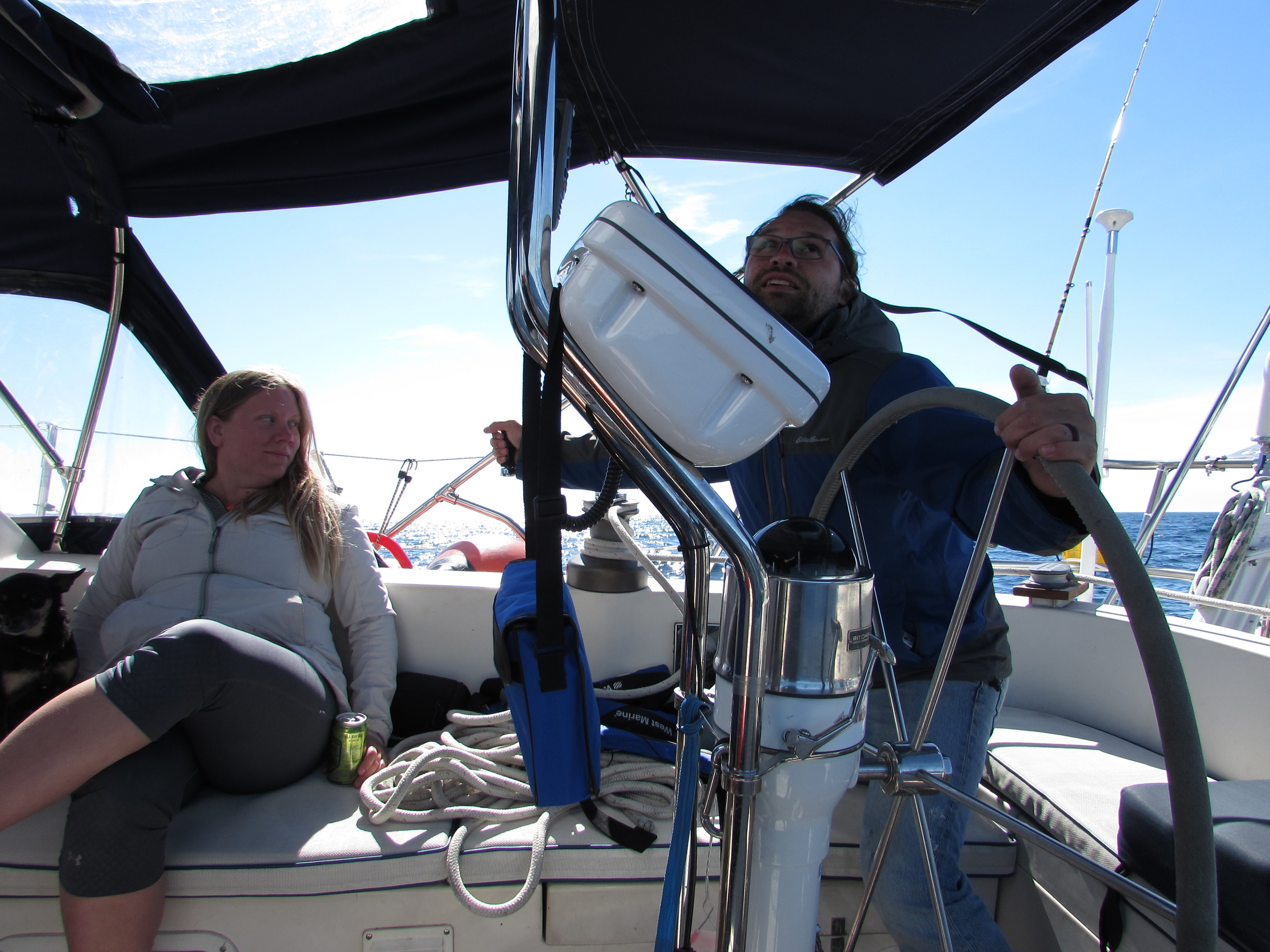 Steady the sails. Have a brew. Mary and Tharon are on deck.