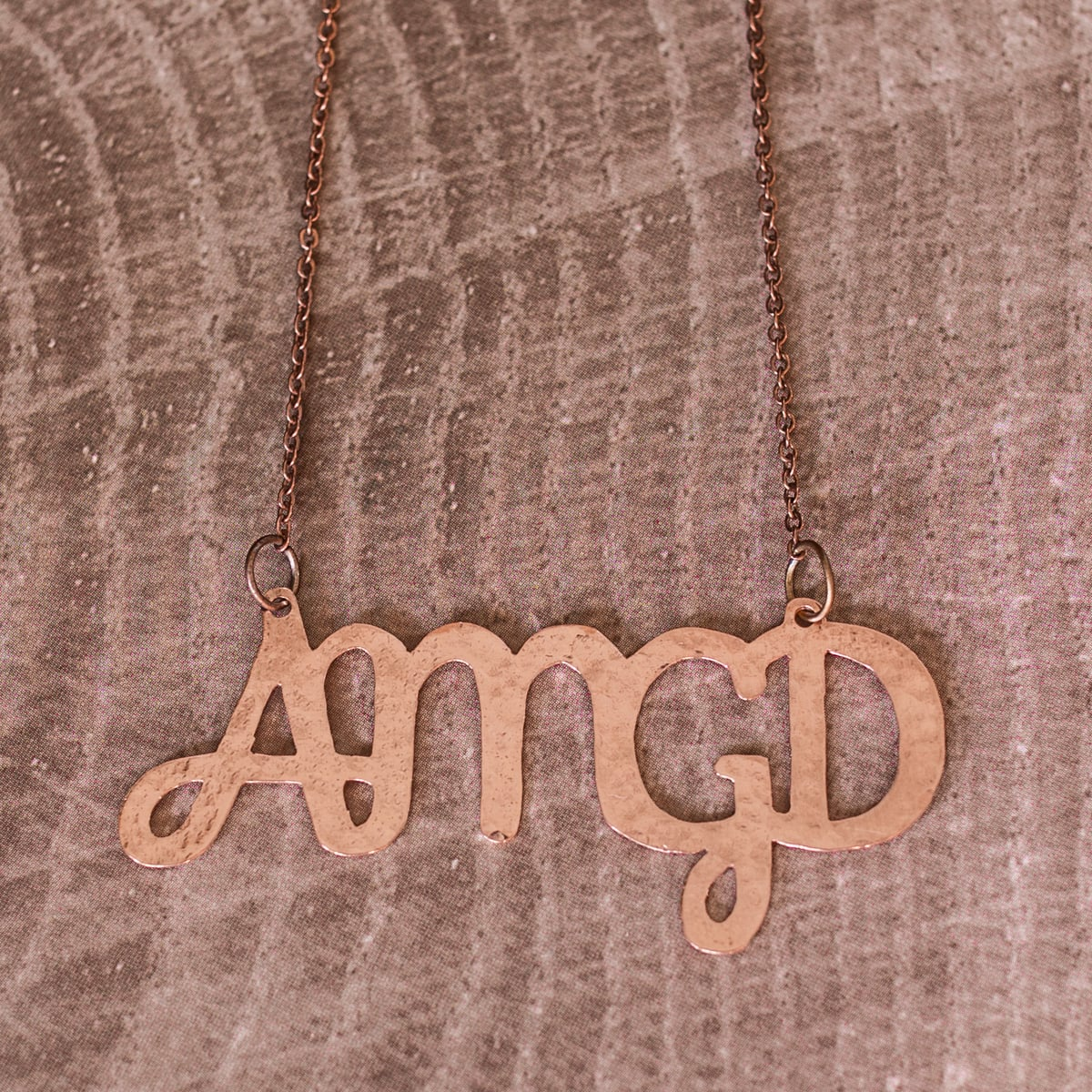 AMGD initials necklace